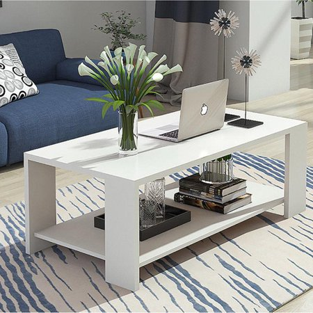 Ktaxon End Table Rectangle Tea Table Living Room Sofa Coffee Table Furniture White/Black/Wood ()