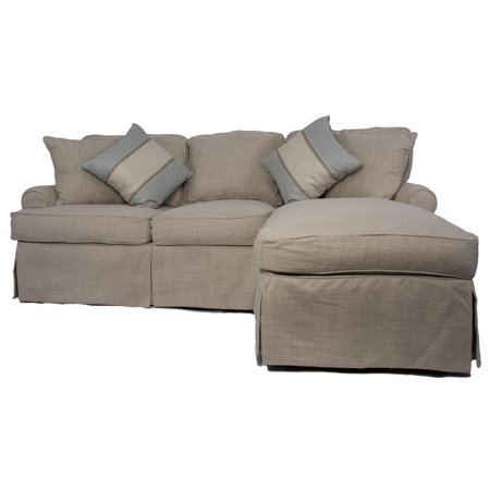 4 pc sleeper sofa and chaise slip cover set in linen. Black Bedroom Furniture Sets. Home Design Ideas