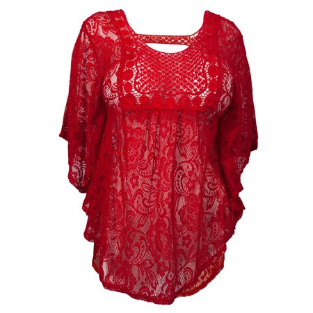 eVogues Plus Size Sheer Crochet Floral Lace Poncho Top Red
