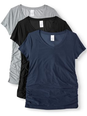 Time and Tru Maternity Basic Short Sleeve T-shirt, 3 Pack