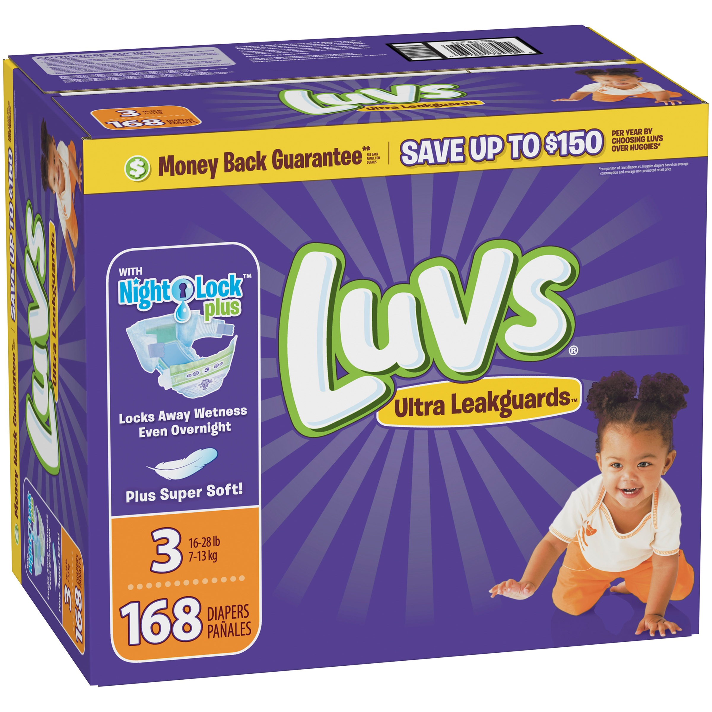 Luvs Ultra Leakguards Diapers, Size 3, 168 Count