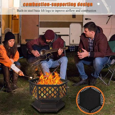 "Outdoor 24"" Wood Burning Fire Pit, Premium HexShaped Steel Fire Pit w/Flame-Retardant Lid, Fire Pit Fireplace, Wood Burning Fireplace Ice Pit for Outdoor Backyard Patio Garden BBQ Grill, S7046"