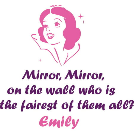 Princess Wall Mirror (Personalized Name Vinyl Decal Sticker Custom Initial Wall Art Personalization Decor Snow White Princess Cartoon Mirror Mirror Quote Girls Bedroom 16 Inches X 16 Inches)