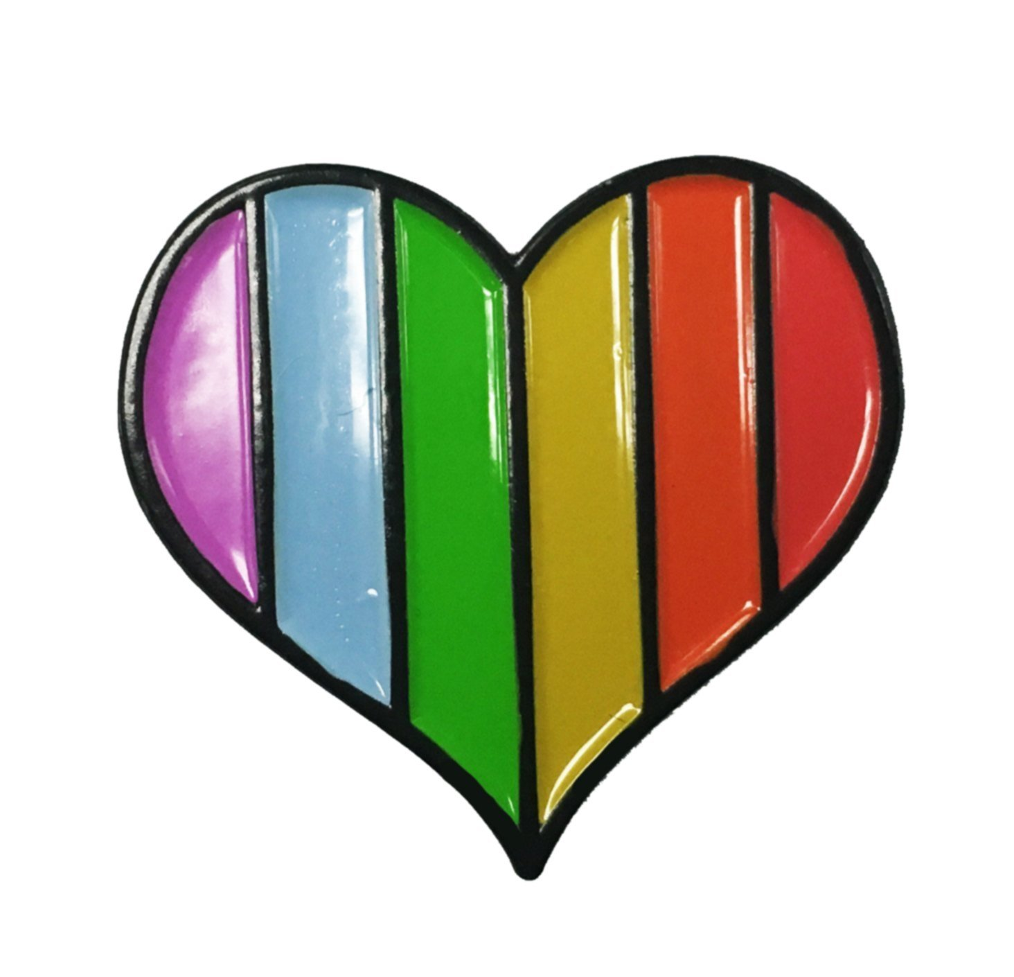 Striped Rainbow Heart LGBT Pride Gay Lesbian Gamer Pixel Enamel Lapel Pin
