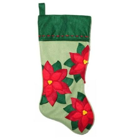 Christmas Eve Embellished Stitched Green Felt Poinsettia Christmas Stocking](Green Christmas Stockings)