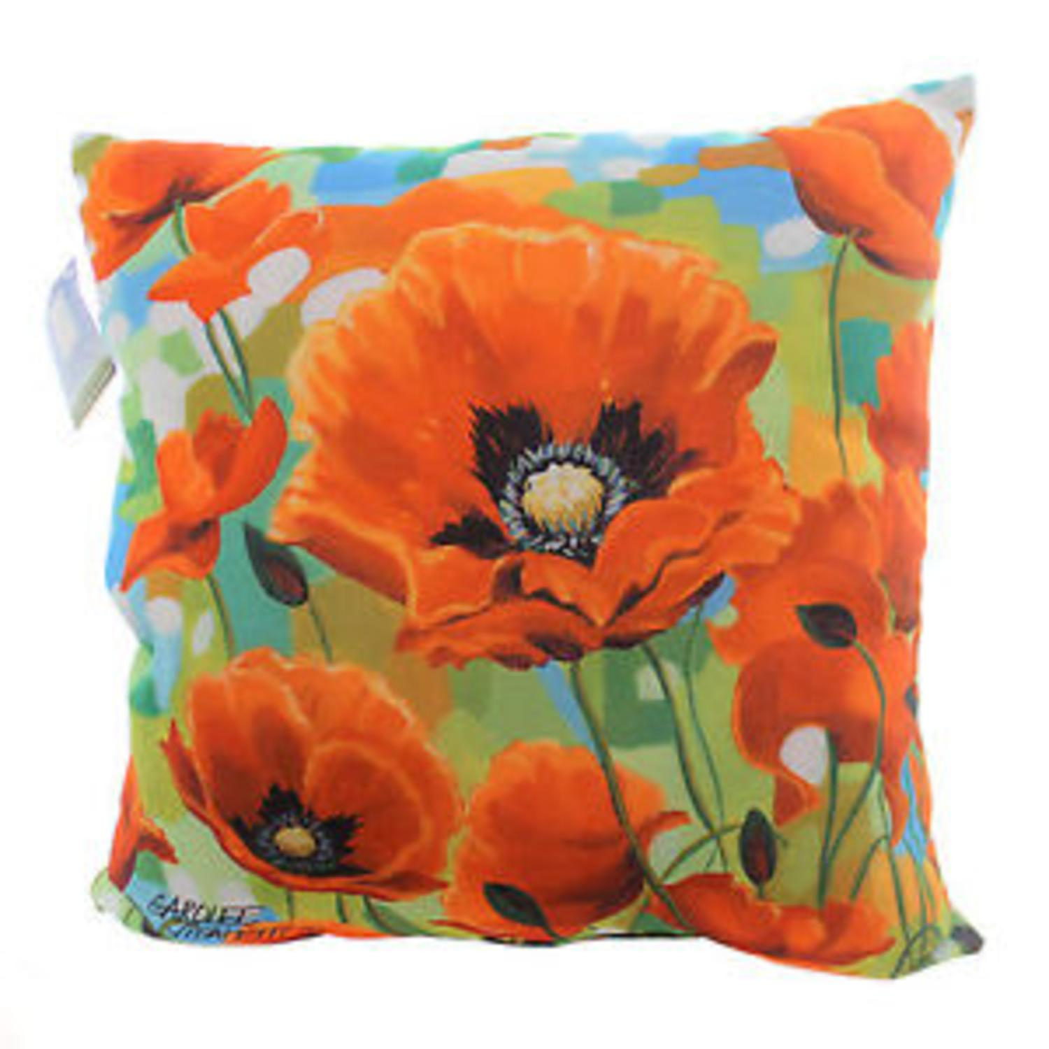 "18"" Decorative Multi-Color Poppy Field Floral Square Outdoor Throw Pillow - Polyester Down Filler"