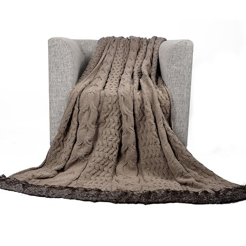 Gracie Oaks Septimus Luxury Cable Knitted Chenille Throw