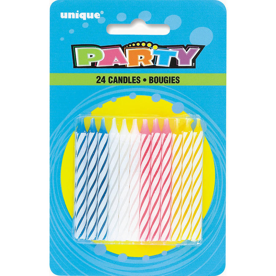 6 Packs Neon Double Spiral Birthday Party Candles