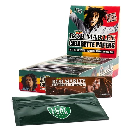 Bob Marley 1 1/4 Hemp Rolling Papers (25 Packs/Full Box) with Leaf Lock Gear Smell Proof Tobacco Pouch