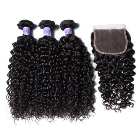 UNice Hair Kysiss Unprocessed Virgin Hair Bundles 4 PCS Peruvian Curly Virgin Hair 3 Bundles With Closure Free Part, (4 Bundles Of Peruvian Hair With Closure)