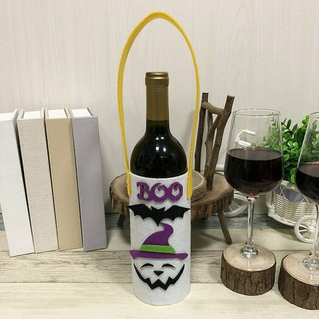 Halloween Non-Woven Wine Bottle Bag Candy Bag with Handle Halloween Party Costumes Supplies Decorations--Ghost - Wine Bottle Costumes Halloween