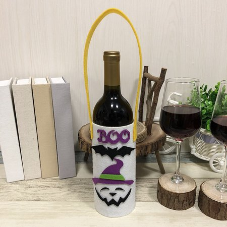 Halloween Non-Woven Wine Bottle Bag Candy Bag with Handle Halloween Party Costumes Supplies Decorations--Ghost
