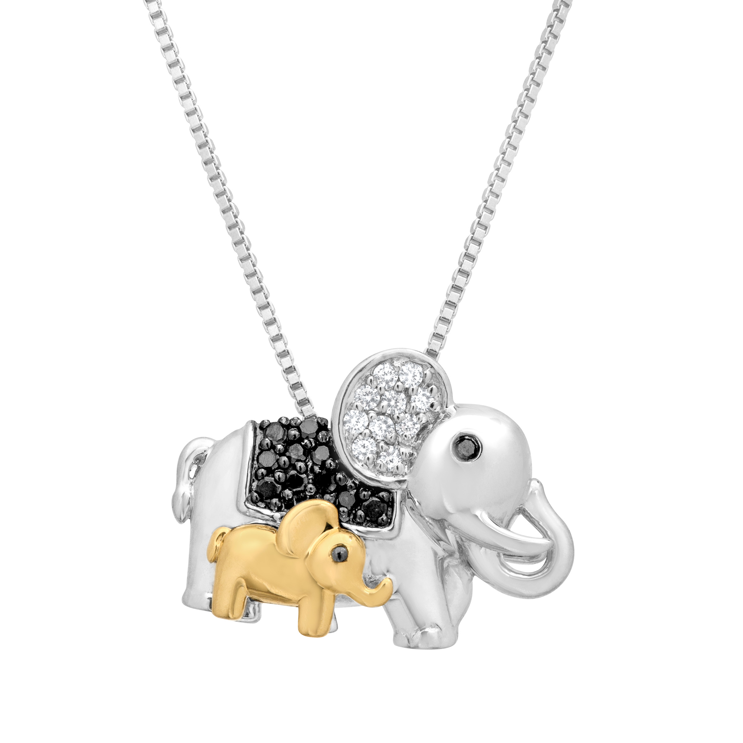 NO BRAND 1/6 ct Black & White Diamond Elephant Pendant Ne...