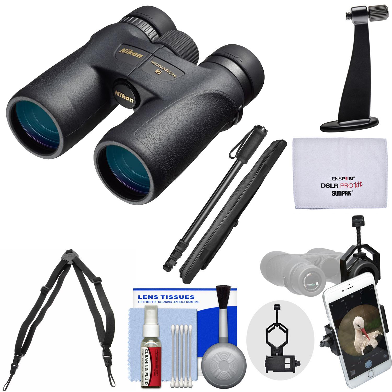 Nikon Monarch 7 8x42 ED ATB Waterproof / Fogproof Binoculars with Case + Harness + Smartphone and Tripod Adapters + Monopod + Cleaning Kit
