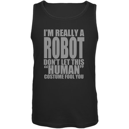 Halloween Human Robot Costume Black Adult Tank Top - Robot Boy Halloween Part 1