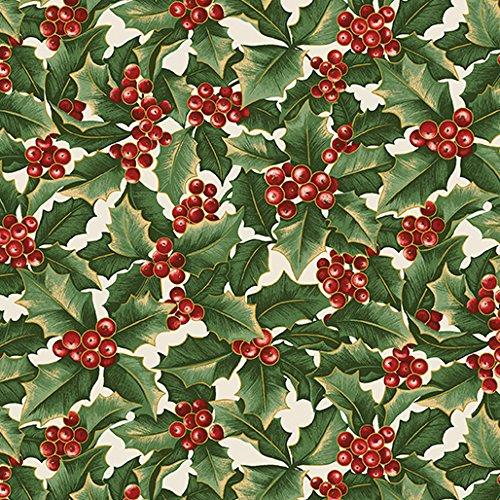 Clearance Sale~A Festive Season~Holly & Berries Christmas Cotton Fabric by Benartex