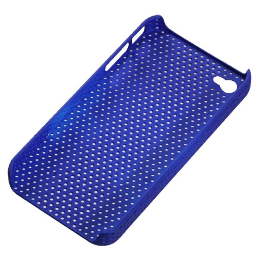 Insten Titanium Solid Dark Blue Lattice Back Case For iPhone 4 4S - image 1 of 3