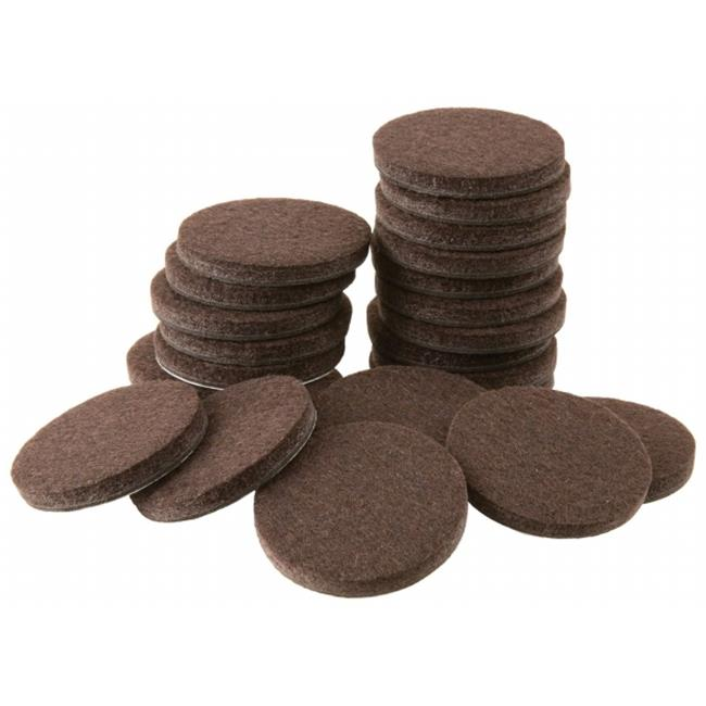 Waxman Consumer Group 4728395N 24 Count Brown Round Self-Stick Felt Pads, 1.5 in. - image 1 of 1