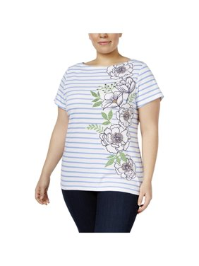 ee08819478f Product Image Karen Scott Womens Plus Striped Embellished T-Shirt
