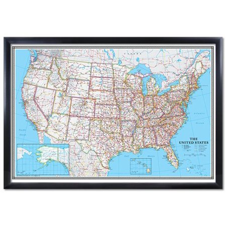 24X36 United States  Usa Us Classic Black Framed Wall Map