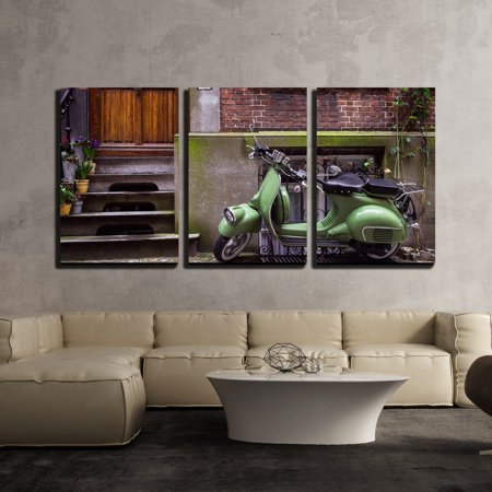 3 Piece Scooter - wall26 - 3 Piece Canvas Wall Art - Green Vintage Scooter Parked in Street - Modern Home Decor Stretched and Framed Ready to Hang - 24