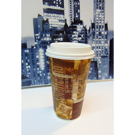 Design 24 Ounce Teapot - SafePro 16 Ounce Design Paper Cups with SOLO Cappuccino LIDS, Tall Paper Cup, Urban/Retro Printed Hot Cups (Case of 100), Disposable Cups with lids