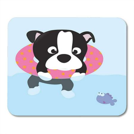 KDAGR Dog Summer Fun Boston Terrier Pup Swim Tube Pool Mousepad Mouse Pad Mouse Mat 9x10 inch (Pup Pad)