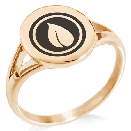 Stainless Steel Nature Element Rune Minimalist Oval Top Polished Statement Signet Ring