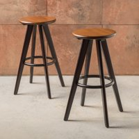 Noble House Edwin Walnut Wood Bar Stools (Set of 2) by Noble House