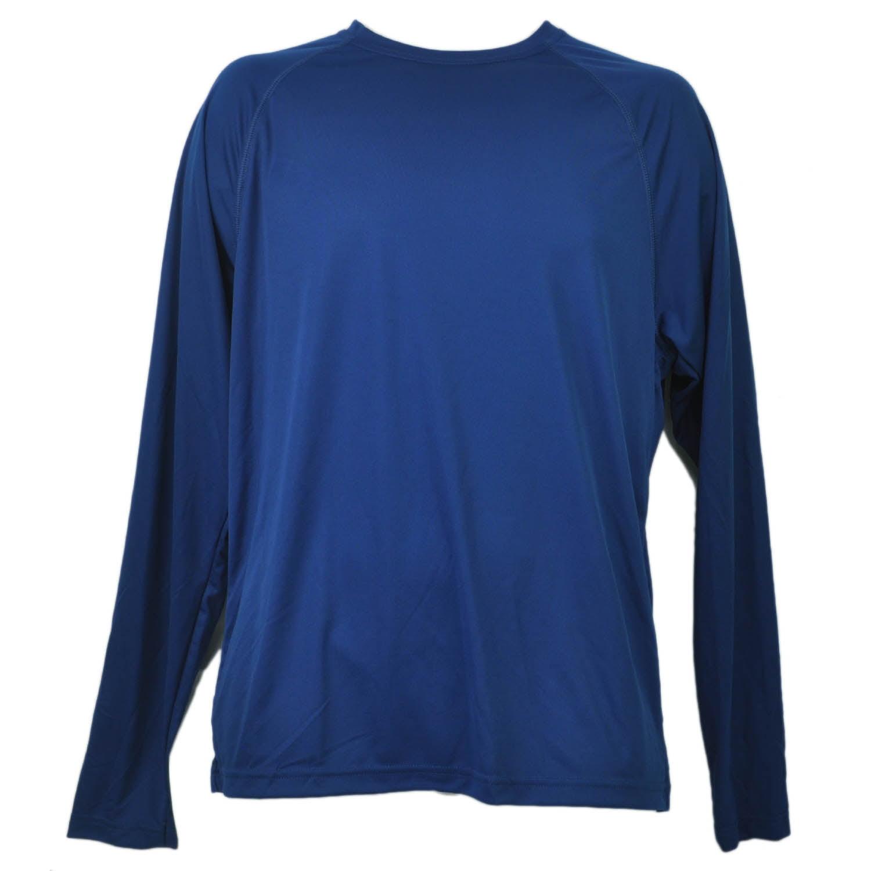 Navy Blue Dry Fit Tshirt Tee Mens Adult Long Sleeve Plain Blank Crew Neck LG