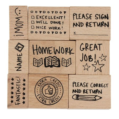 Stamp Set for Teachers - 9-Piece Wood Mounted Rubber Stamps, Paper Grading Stamps for Teacher's Notes, Encouragement, Classroom Supply, School Supply Background Mounted Rubber Stamp