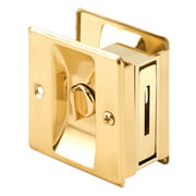 Polished Brass Privacy Lock with Pull Pocket Door Lock
