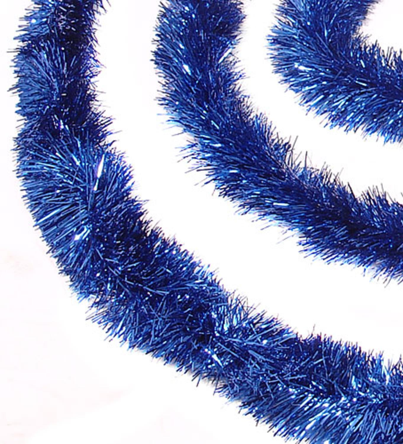 50' Shiny Blue Festive Christmas Hanukkah Foil Tinsel Garland - Unlit - 8 Ply