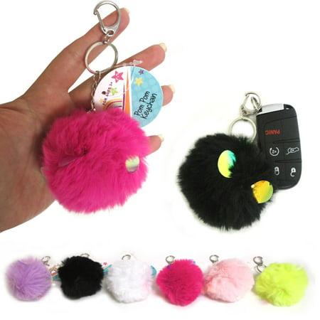 1 Fluffy Key Chain Ring Pom Pom Fur Faux Puff Balls Charm Handbag Tassel Hook !! ()