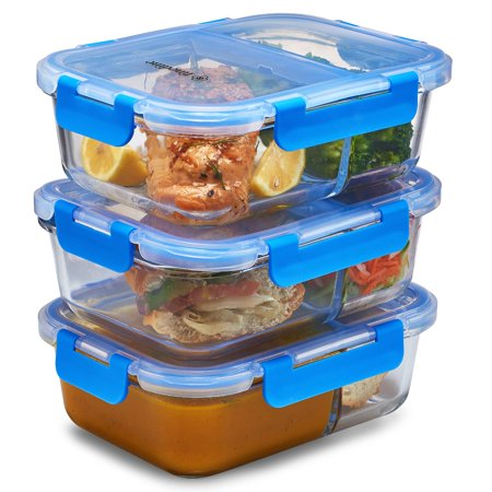 ShopoKus Glass Meal Prep Containers 2-Compartment - 3-Pack 32 Oz. Freezer to Oven Airtight Food Storage Container Set with Hinged Locking Lids, Great On the Go Portion Control Lunch Containers 3 Compartment Hinged Lid