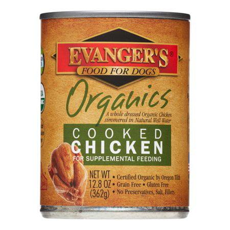 Evangers 100% Chicken - (12 Pack) Evanger's Organics Grain-Free Cooked Chicken Recipe Wet Dog Food, 13 Oz, 12 Ct