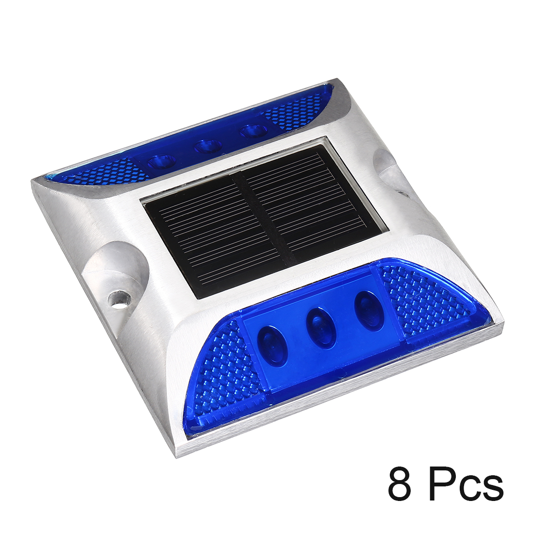 Unique Bargains 8pcs  Solar Road Stud Light Marker Lighting Security Warning Lamp 6LED Blue - image 3 of 4