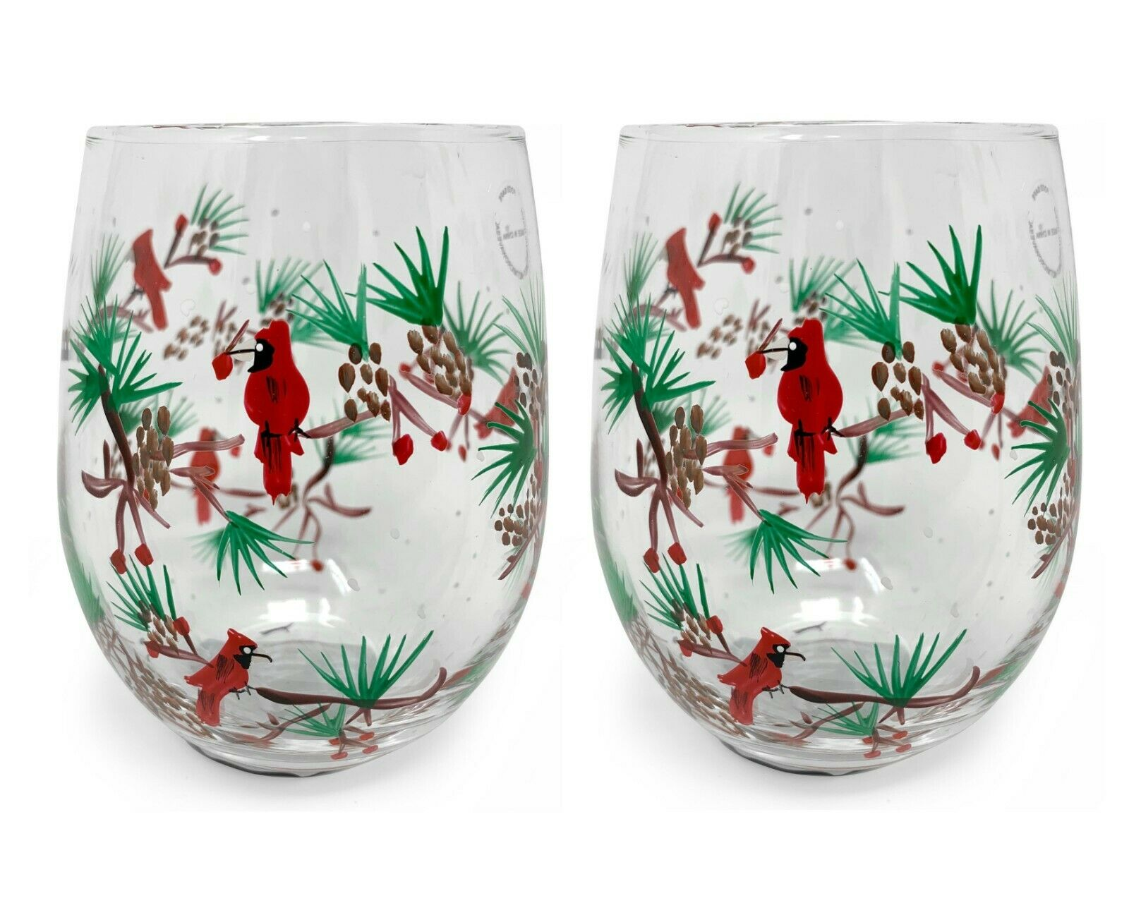 Christmas Stemless Wine Glass Holiday Presents Ideas Christmas Gifts Wine Lovers Drinking Glasses Gift Holly Cardinal Birds 2pk Walmart Com Walmart Com