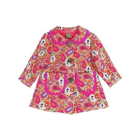 - Maria Elena Little Girls Pink Paisley Pattern Peter Pan Collar Coat