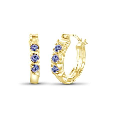 1/2 Carat T.G.W. Tanzanite 14kt Gold Over Silver Hoop Earrings