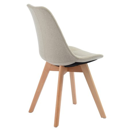 Ddining Chair ,white pu back and seat wood feet Cream - image 2 of 6