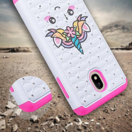 Samsung Galaxy J3 2018/J3 Star/J3 Achieve/J3v 3rd Gen/Express Prime 3 Case Cute Diamond Bling Silicone Shock Proof Phone Case Dual Layer Protective Cover for Girls Women - White Unicorn - image 4 of 6
