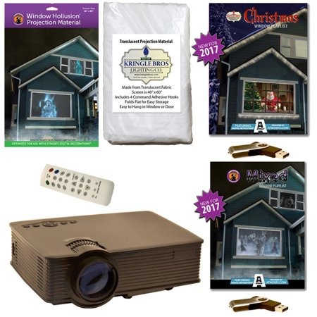 AtmosFearFx Christmas & Halloween Digital Decoration Kit includes 800 x 480 Projector, Hollusion (W) + Kringle Bros Projection Screens, Christmas & Mixed Compilation Videos on USB.