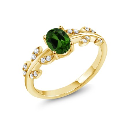 18K Yellow Gold Plated Silver 2.01 Ct Oval Green Chrome Diopside Leaf (18k Diopside Ring)