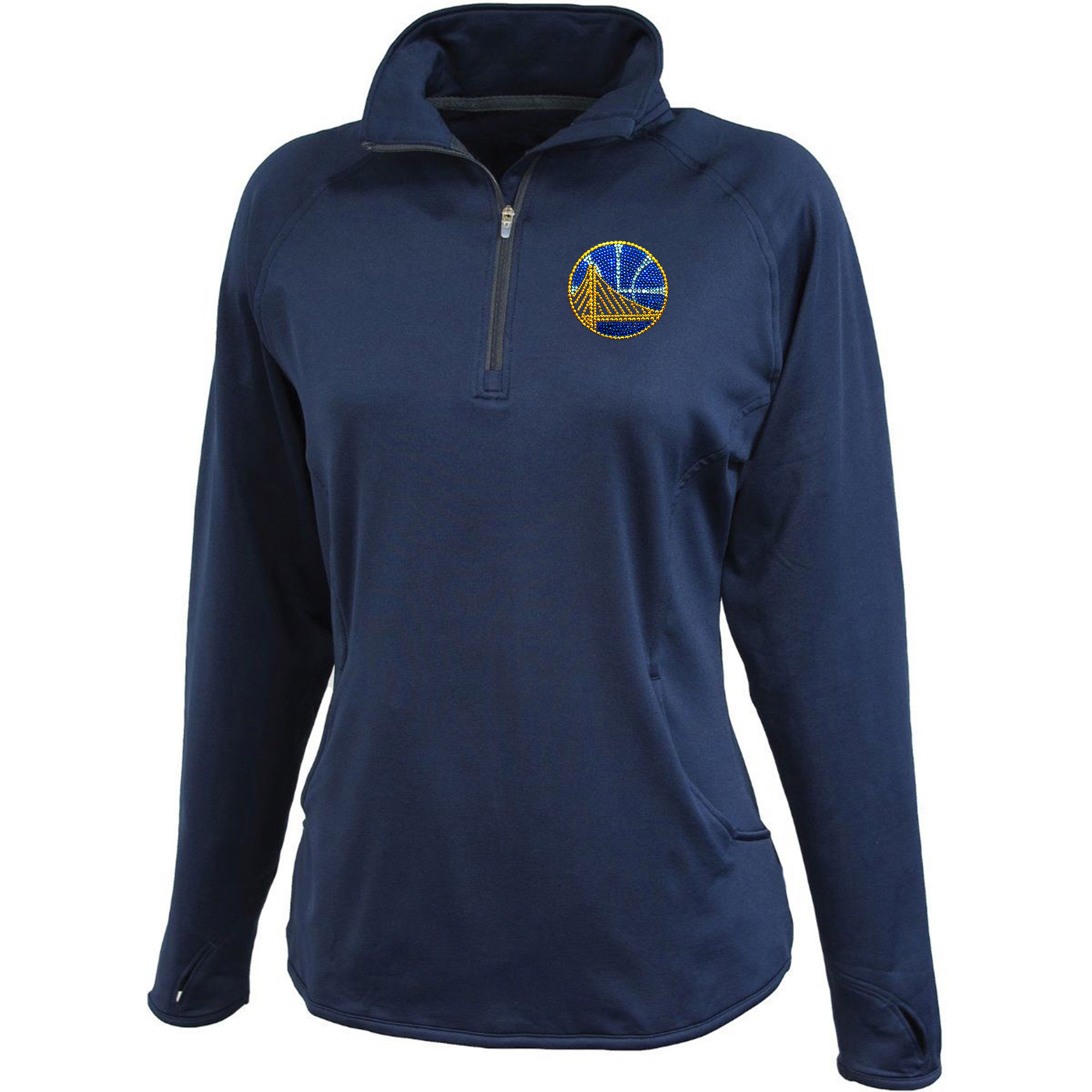 Golden State Warriors Women's Rhinestone 1/4 Zip Jacket - Navy