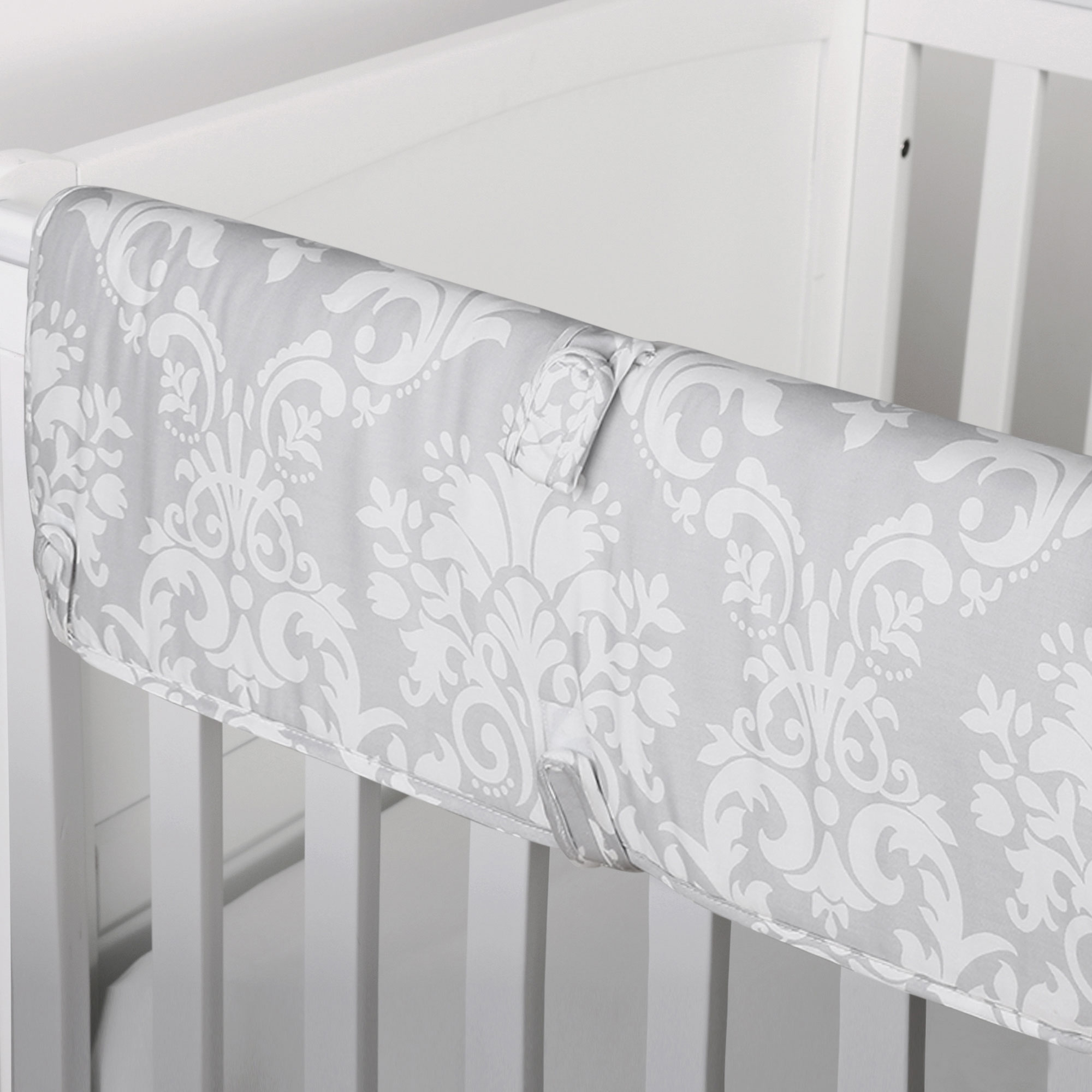 The Peanut Shell Baby Crib Rail Guard - Grey Floral Damask Print - 100% Cotton Sateen Cover, Polyester Fill
