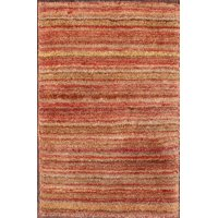 Striped Indian Gabbeh Oriental Modern Rug 1x2 Hand Knotted Wool