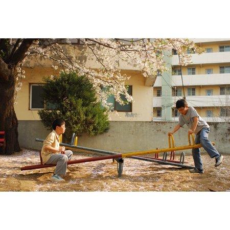 Canvas Print Spring Playground Cherry Blossom Children Stretched Canvas 10 x 14