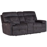 Afton Gray-Blue Power Reclining Console Loveseat with Power Headrests