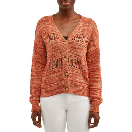 Women's Pointelle Mix Button Front Cardigan